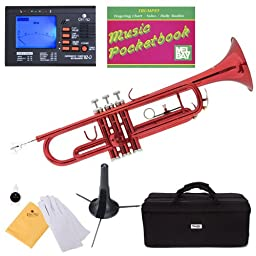 Mendini MTT-RL Red Lacquer Brass Bb Trumpet + Tuner, Case, Stand, Mouthpiece, Pocketbook & More