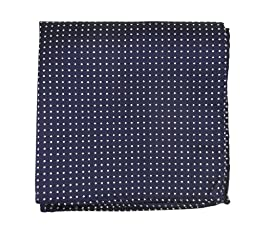 100% Woven Silk Navy Pindot Patterned Pocket Square