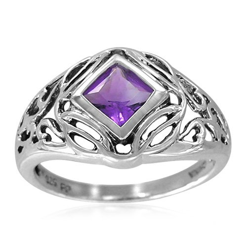 Sterling Silver Celtic Square-Shaped Amethyst Ring, Size 9
