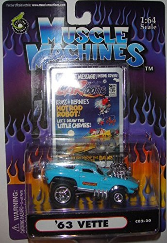 MUSCLE MACHINES 1:64 SCALE TEAL/BLUE CARTOONS SERIES '63 VETTE #C02-20 DIE-CAST, 1963 MUSCLE MACHINES CORVETTE