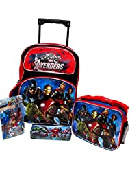 "Avengers Marvel Age Of Ultron Large 16"" Rolling Roller Wheeled Backpack Book Bag, Lunch Box, Pencil"