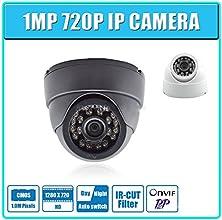 LECENTreg 1MP IP Camera 720P 24pcs leds Securiy Dome HD Network CCTV IP Camera Support Phone Android