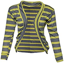 StyleU Girl's Semicotton Jacket (STU098, Grey & Yellow, M)