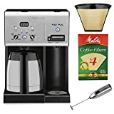 Cuisinart CHW-14 Coffee Plus 10-Cup Thermal Programmable Coffeemaker and Hot Water System with Melitta #4 Brown Basket Coffee Filters (100pk) + #4 Cone Permanent Coffee Filter and Handheld Milk Frother
