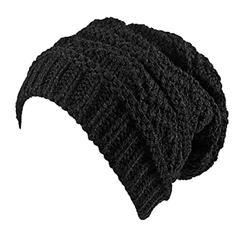 Ladies Knit Slouch Winter Hat/Beanie - Black