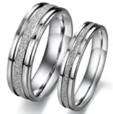 Geminis New Fashion Silver Brushed/matte Grooved 316 L Stainless Steel Titanium Wedding Band Anniversary/engagement/promise/couple Ring Best Gift! (The Men's Ring, 7)