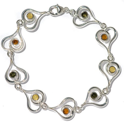 Multicolor Amber Sterling Silver Contemporary Heart Bracelet 7