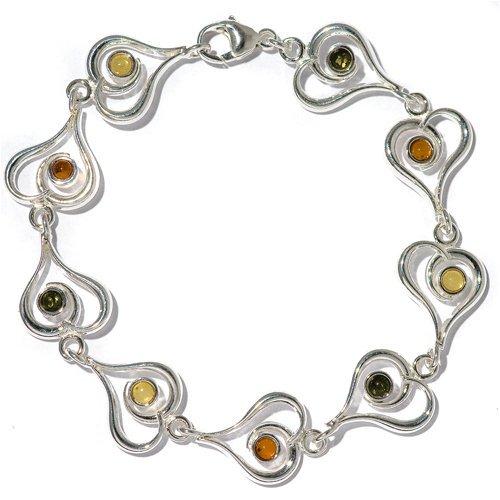 Multicolor Amber Sterling Silver Contemporary Heart Bracelet 7