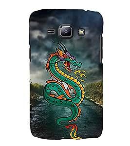 Green Dragon 3D Hard Polycarbonate Designer Back Case Cover for Samsung Galaxy J2 (2016)