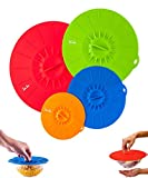 Reusable Silicone Suction Covers and Bowl Lids, Set of 4. 11 ½, 10, 8 and 6 Inch, 4 Colors
