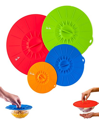Reusable Silicone Suction Covers and Bowl Lids, Set of 4. 11 ½, 10, 8 and 6 Inch, 4 Colors (10 1 4 Lid compare prices)