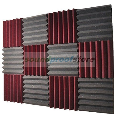 2x12x12-12-pk-burgundy-charcoal-acoustic-wedge-soundproofing-studio-foam-tiles