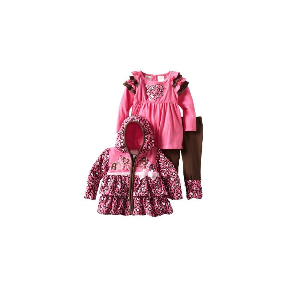 Nannette Baby Girls 3 Piece Adorable Legging Set, Pink, 12 Months