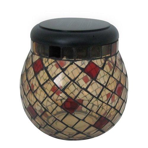 Smart Solar Mosaic Glass Solar Lantern, Champagne 3774Wrm1