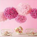 Dream カラフル フラワーポンポン ペーパーフラワー キット ウエディング 結婚式 パーティー 3色 合計10個セット (薄ピンク色3個 ピンク色3個 白色4個, 15cm)DR040
