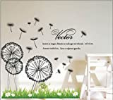 Sumlake Dandelion In The Wind Blooming Flowers Flying Wall Art Stickers Decal Decoration