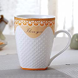 New Chinese Porcelain Water Cups High-grade Bone China Tea Mugs Creative Relief Design Coffee Cups D 301-400ml