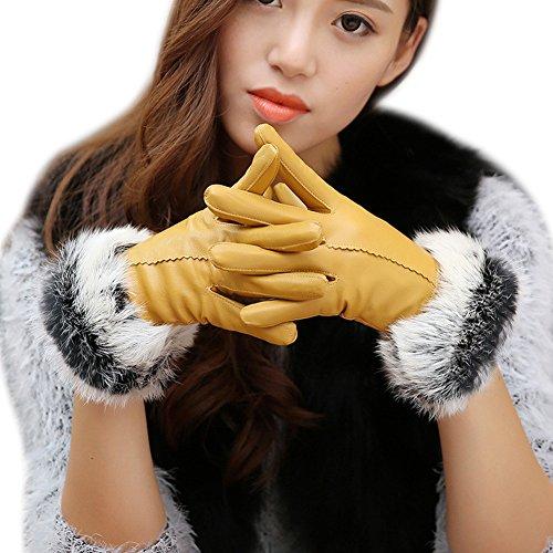 Prettygood Women's Genuine Leather Sheepskin Gloves Winter Riding Skiing Gloves Yellow