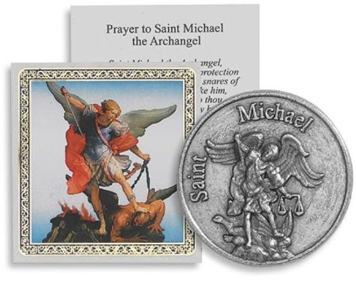 Archangel Saint St Michael Protection Medal Pocket Token with Prayer Card in Keepsake Pouch Gift Set - 1