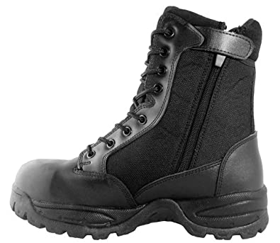 Maelstrom(R) TAC FORCE 8'' Black Waterproof Military Tactical Duty Work Boots with Zipper - T5180Z WP Size 4 Medium