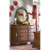 Tiviers Solid Wood Fully Assembled Dresser & Mirror , Cherry Finish