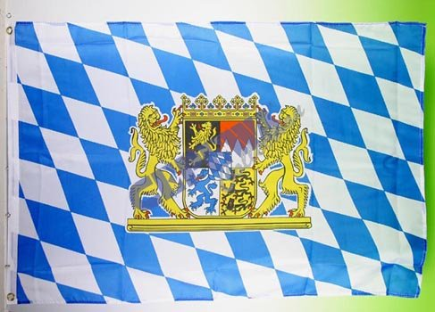 Bayern Fahne mit Metallösen zur Befestigung / Oktoberfest / Bayern Dekoration