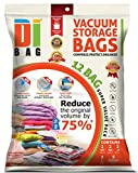 "DIBAG ® 12 Bags Pack Set - Vacuum Storage Space Saver Bags. 1 Super Jumbo (51""X40"")+ 2 Jumbo (47""X32"")+ 2 XL (35""X28"") + 2 Large (28""X20"") + 5 Suitcase Travel Roll-up Bags (23.6''X15.7'') Without Suction or Valve. Improved 2016"