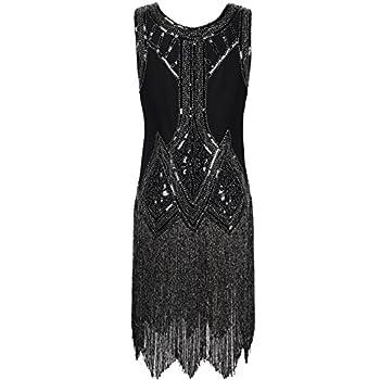 PrettyGuide Women's 1920s Vintage Beaded Fringed Inspired Black Flapper Dress