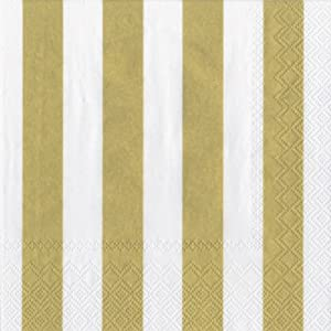 Ideal Home Range 3-Ply Paper Lunch Napkins, White and Gold Big Stripes, 20-Count (Pack of 2)