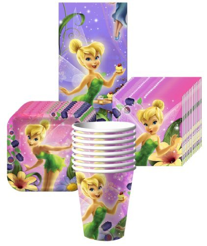 Tinkerbell Sweet Treats Party Supplies Pack Including Plates, Cups, Tablecover and Napkins - 8 Guests