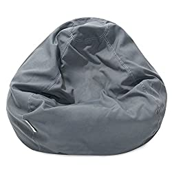 Majestic Home Goods Solid Classic Bean Bag Small Gray