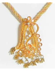 Peach And Off-White Twisted Cord Necklace With Stone Studded Pendant - Metal