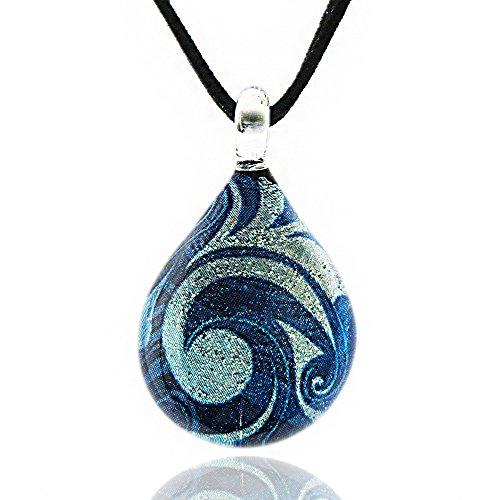 Hand Blown Venetian Murano Glass Glitter Blue Sea Wave Teardrop Pendant Necklace, 17-19 inches (Italian Blown Glass Necklace compare prices)