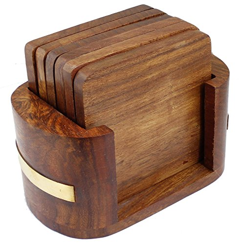 Handmade Wooden 6 Square Table Coasters with Holder for Tea Cups, Coffee Mugs, Beer Cans, Bar Tumblers Decorative Table Essential -4 x 2.2 x 3 Inches