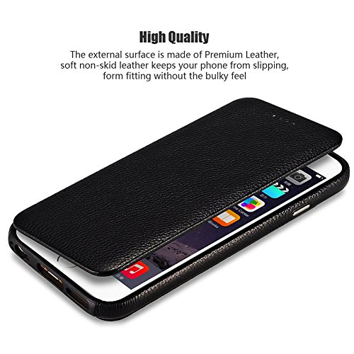 IPhone 6s 6 Case, [2 in 1 Style] [Detachable Back] Folio Flip Cover Case, Genuine Leather [Card Slot] [Simple Stand] for iPhone 4.7 inch (Black)