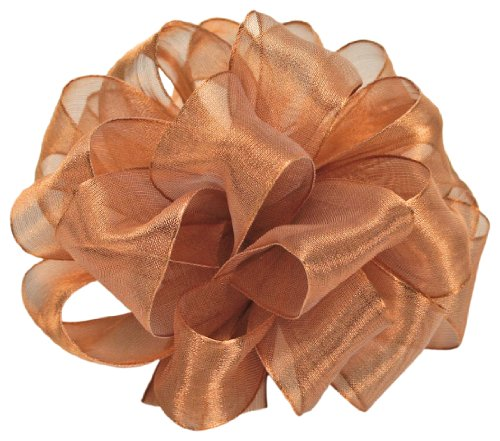 Offray Wired Edge Magic Wand Metallic Sheer Craft Ribbon, 7/8-Inch Wide by 50-Yard Spool, Copper