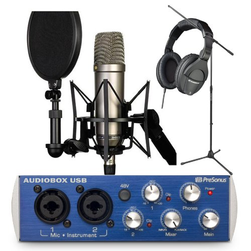 Rode Nt1-A Cardioid Condenser Microphone Recording Package With Presonus Audiobox Usb, Studio One Artist Recording Software, Sennheiser Hd280 Pro Professional Studio Headphones And A Tripod Base Microphone Floor Stand - Black