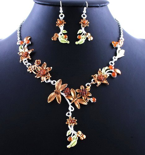 Flower Wedding Party Alloy Acrylic Necklace Earring sets BROWN