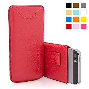 Snugg iPhone 5 / 5S Case - Leather Pouch with Lifetime Guarantee (Red) for Apple iPhone 5 / 5S