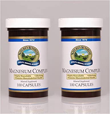 Nature's Sunshine Magnesium Complex Mineral Supplement Vital Nutrition, Structural 100 Capsules Each(pack of 2)