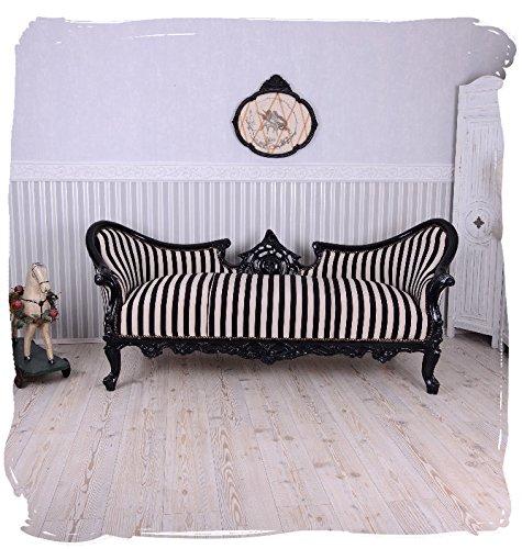 Vintage Sofa Schwarz Weiss Streifen Sitzbank Salon Sitzsofa Chateau