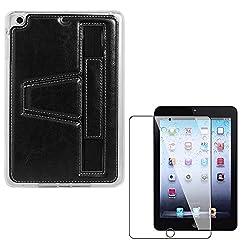 DMG Premium TPU Skin with PU Leather Hand Holder Cover Case For Apple iPad Mini / Mini 2 / Mini 3 (Black) + Matte Screen