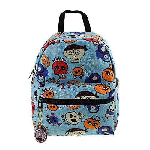 FakeFace® Neu Rucksack Schultasche Schulrucksack Handtasche Retro Canvas Unisex Tasche Reisetasche klein Blau