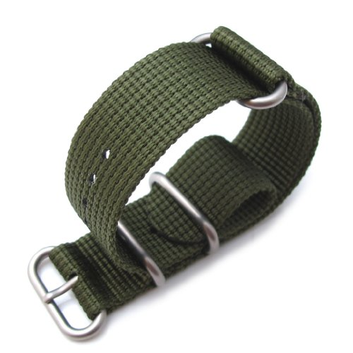 Miltat 23Mm Zulu Watch Strap, 3D Woven Nylon Band - Forest Green, Brushed Hardware