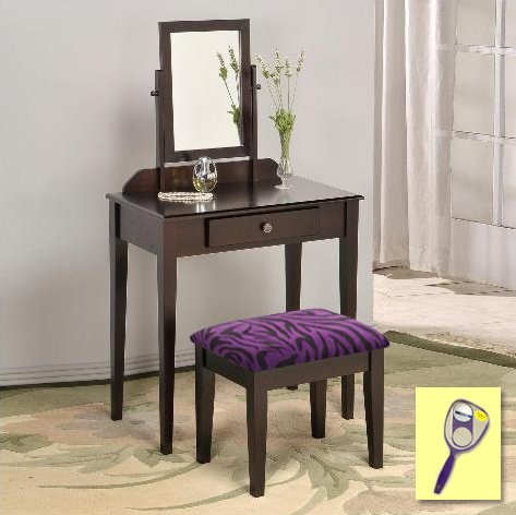 New Cappuccino / Espresso Finish Make Up Vanity Table with Mirror & Purple Zebra Faux Fur Themed Bench