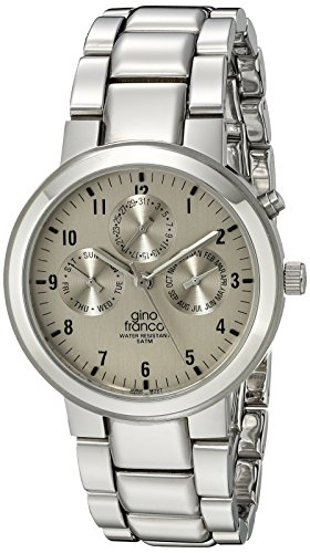 gino franco Men's 921SL Round Stainless Steel Multi-Function Bracelet Watch