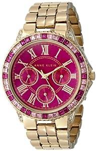 Anne Klein Women's AK/1712MAGB Swarovski Crystal Accented Magenta Dial Gold-Tone Bracelet Watch