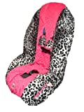 Patricia Ann Designs Snow Leopard Toddler Carseat Cover - Pink and White Gingham