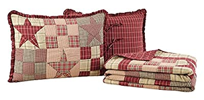 Primitive Country, Star Patch Red King 3 Piece Quilt Set by VHC Brands