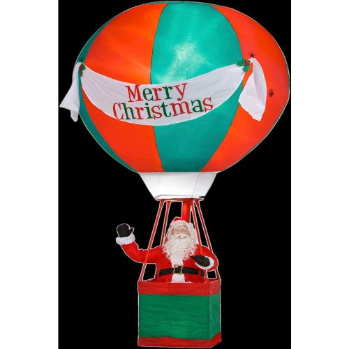 Christmas Decoration Lawn Yard Inflatable Airblown Santa Clause In Hot Air Balloon 15' Tall front-456285